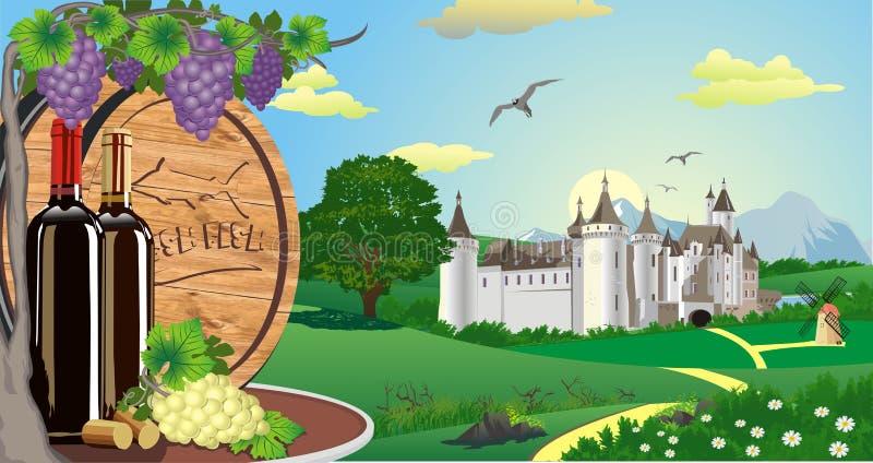 Paisaje del vino y manojos de uvas y barril de madera para el vino stock de ilustración