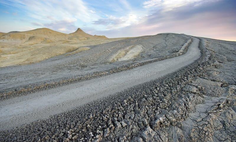 Paisaje del volcán del fango fotografía de archivo