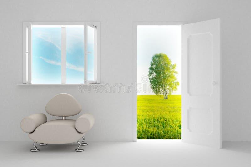 Paisaje detrás de la puerta abierta y de la ventana. stock de ilustración