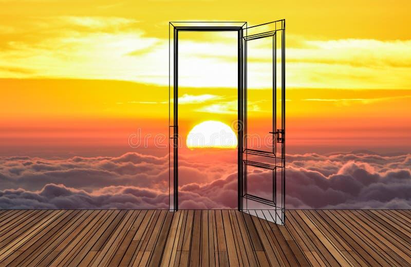 Paisaje detrás de la puerta de abertura ilustración del vector
