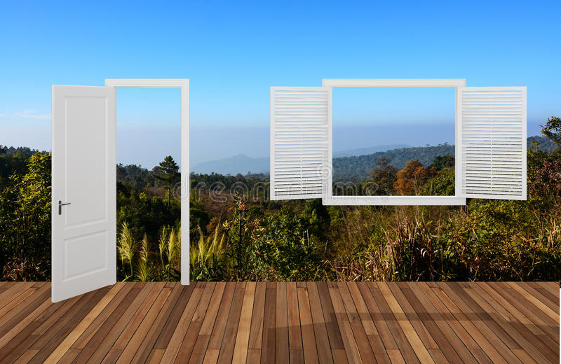 Paisaje detrás de la puerta y de la ventana de abertura ilustración del vector