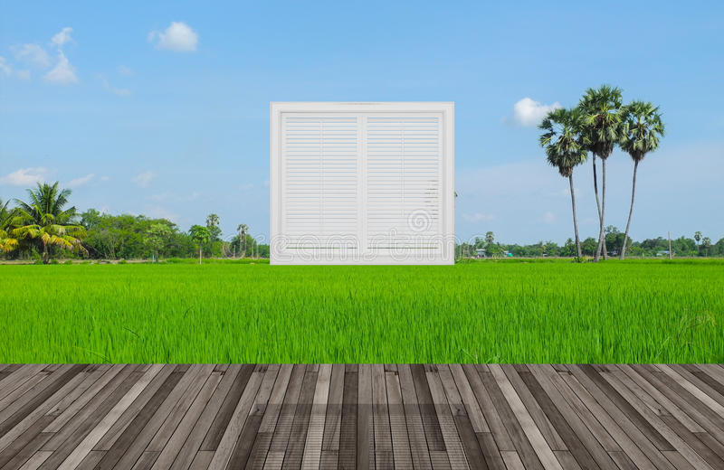 Paisaje detrás de la ventana libre illustration