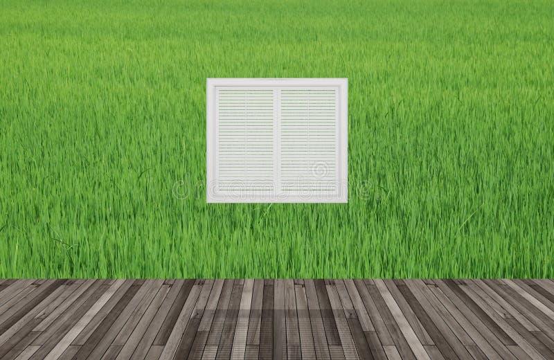 Paisaje detrás de la ventana ilustración del vector