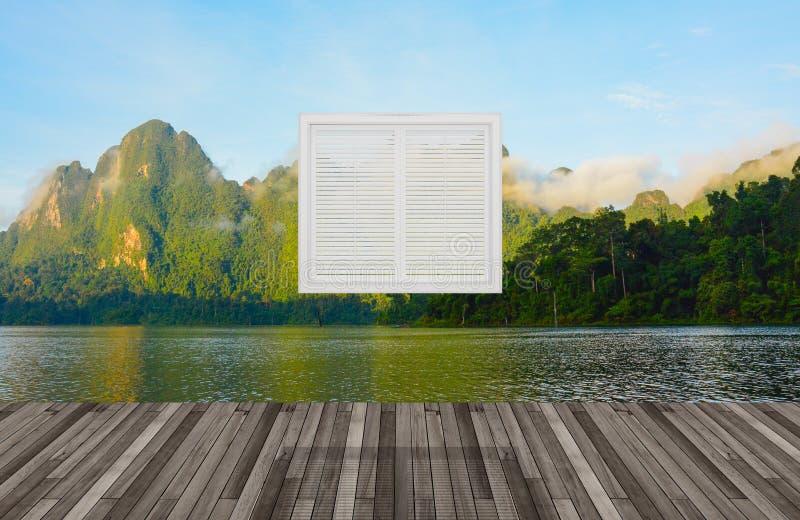 Paisaje detrás de la ventana, 3D ilustración del vector