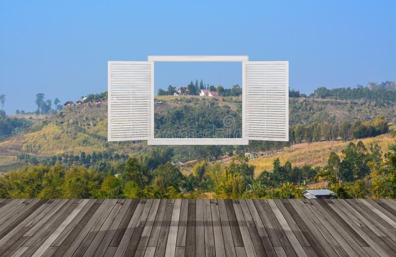 Paisaje detrás de la ventana de abertura libre illustration