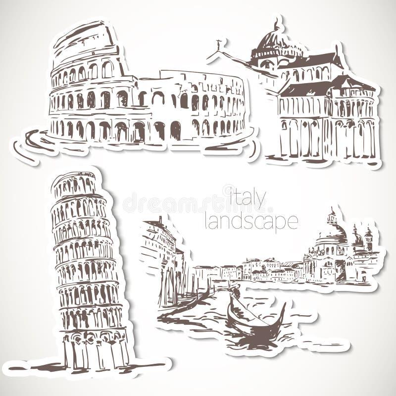 Paisaje dibujado mano de Italia en estilo del vintage ilustración del vector
