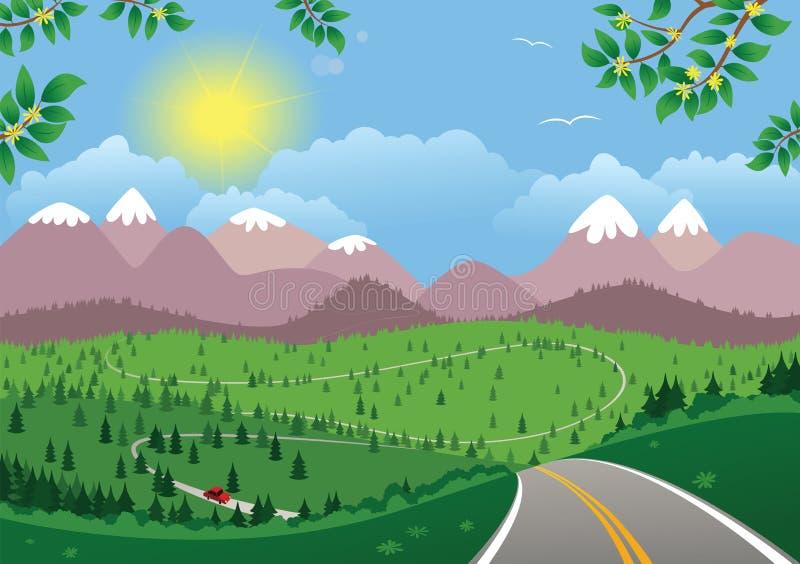 Paisaje diurno montañoso stock de ilustración