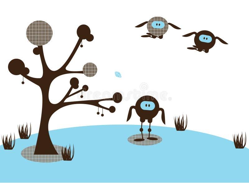 Paisaje divertido abstracto stock de ilustración