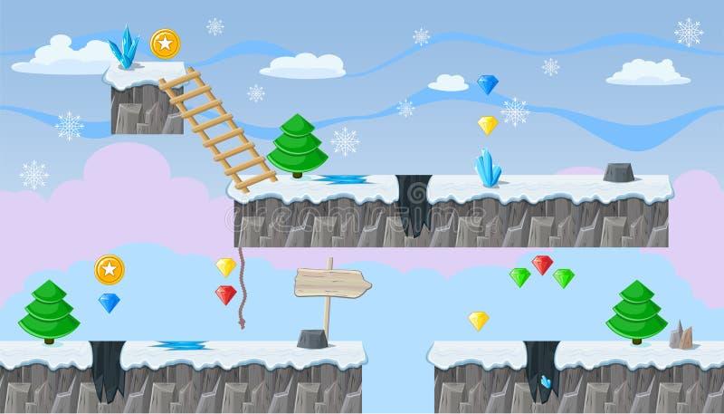 Paisaje editable inconsútil del invierno para el diseño de juego de la plataforma stock de ilustración