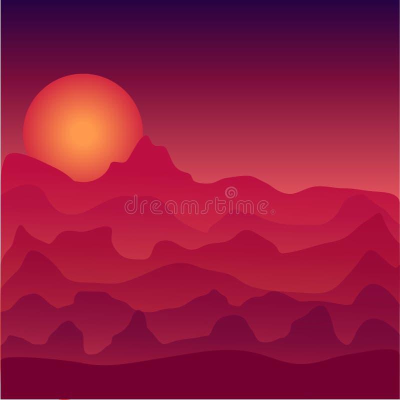 Paisaje en el ejemplo de la puesta del sol Puesta del sol del espacio Desierto en la puesta del sol Puesta del sol en espacio ilustración del vector