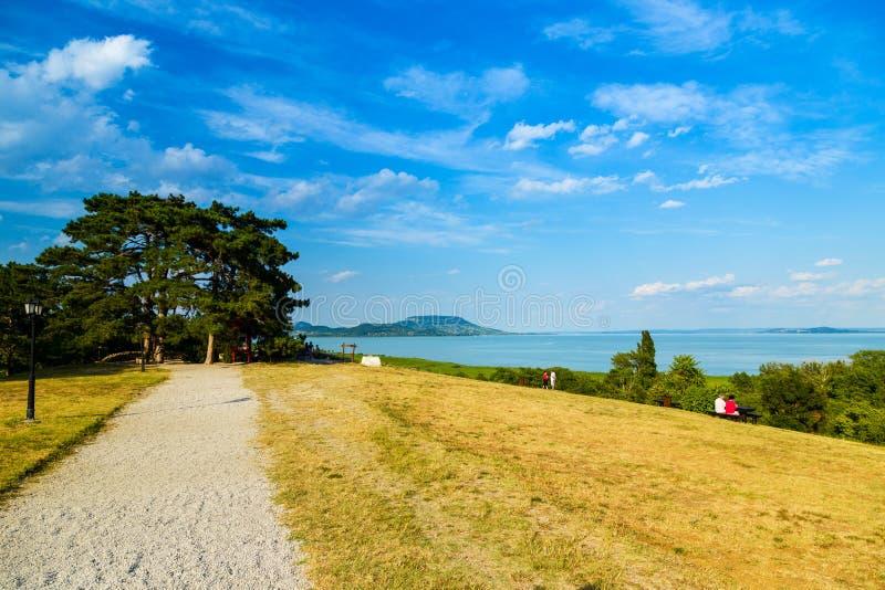 Paisaje en el lago Balatón, Hungría fotografía de archivo