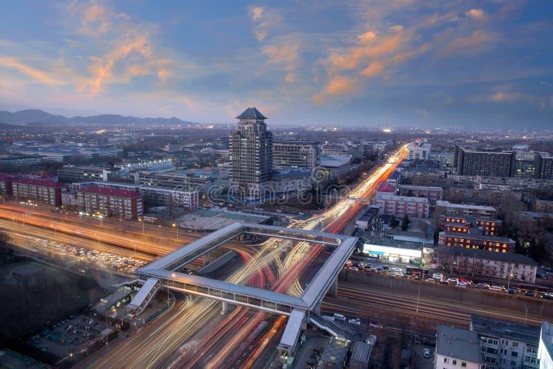 Paisaje en el puente sobre la ciudad de Beijing, China imágenes de archivo libres de regalías