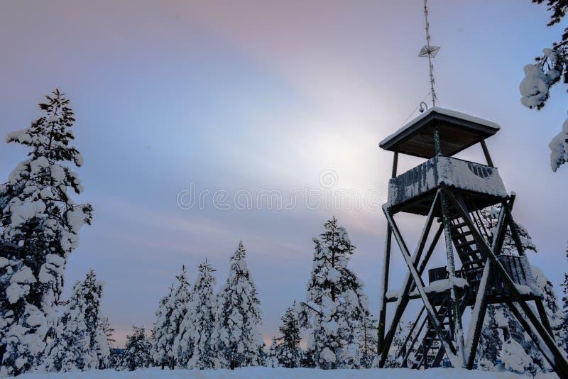 Paisaje en el rovaniemi durante puesta del sol - Laponia fotos de archivo libres de regalías
