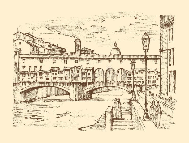 Paisaje en la ciudad europea Florencia en Italia mano grabada dibujada en viejo estilo del bosquejo y del vintage histórico ilustración del vector