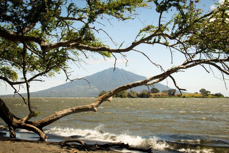 Paisaje en la isla de Ometepe con el volcán de Concepción fotos de archivo libres de regalías