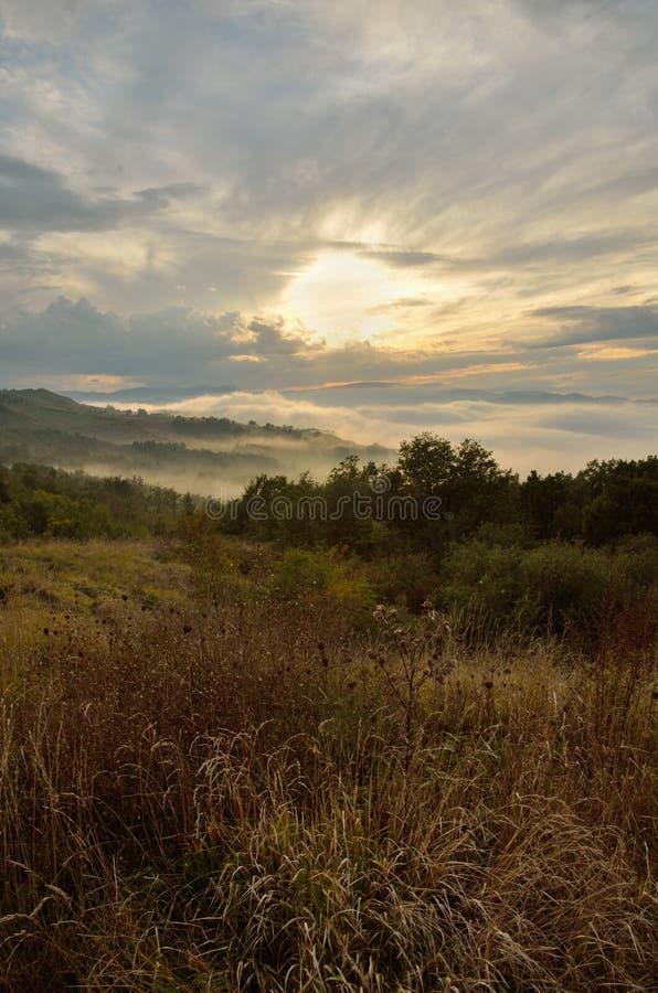Paisaje en la puesta del sol imagen de archivo libre de regalías