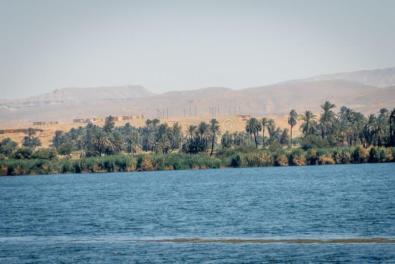 Paisaje en los bancos del río Nilo Egipto fotografía de archivo