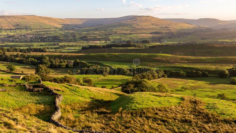 Paisaje en los valles de Yorkshire, Reino Unido fotografía de archivo