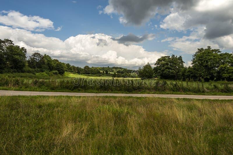 Paisaje en Lullingstone Roman Villa, valle de Darenth, Kent, Inglaterra fotografía de archivo