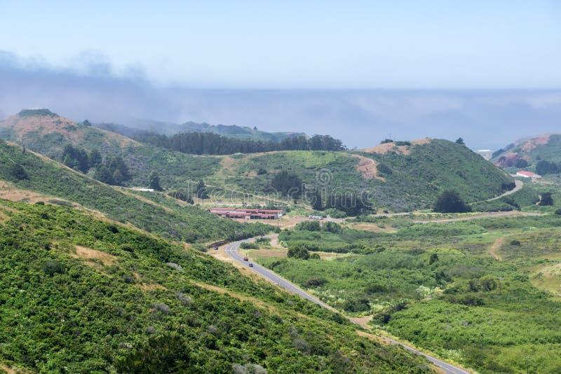 Paisaje en Marin Headlands State Park, San Francisco Bay, California fotografía de archivo