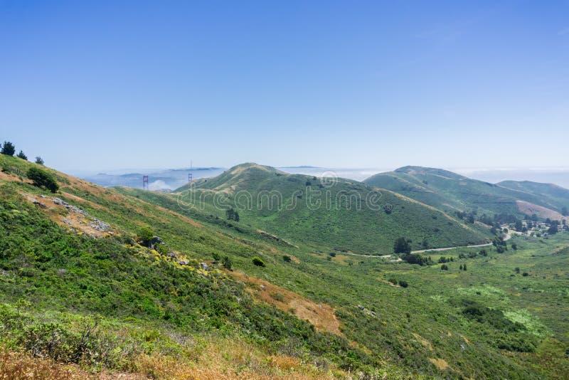 Paisaje en Marin Headlands State Park, San Francisco Bay, California fotos de archivo