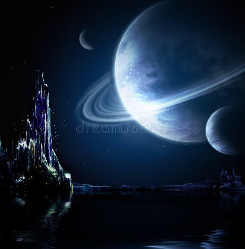Paisaje en planeta de la fantasía ilustración del vector