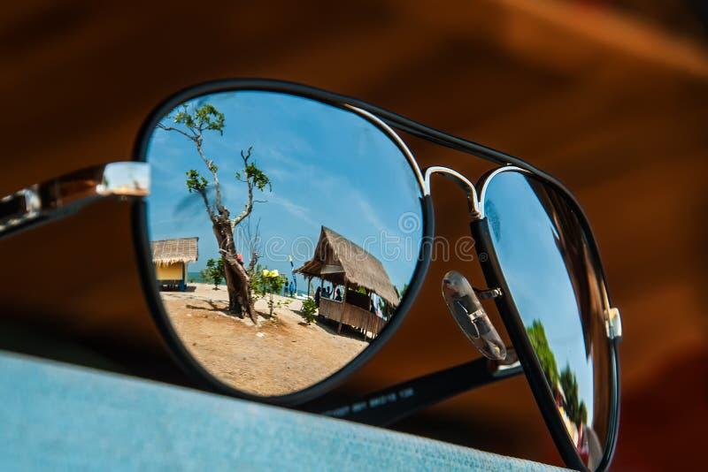 Paisaje en un vidrio fotografía de archivo