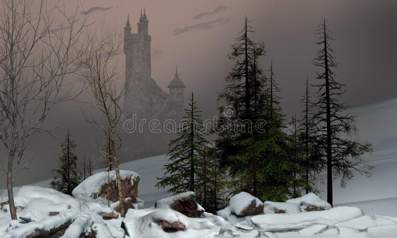 Paisaje encantador del invierno con el castillo stock de ilustración