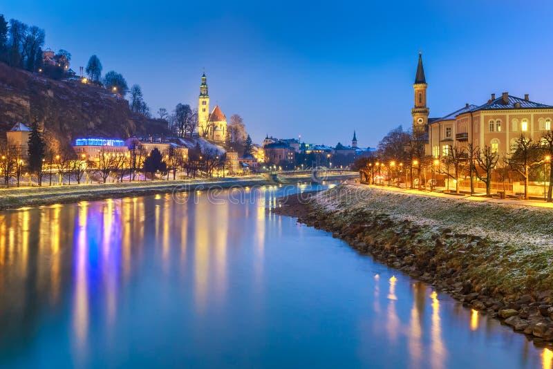 Paisaje escénico hermoso en el invierno, Salzburg, Austria fotografía de archivo libre de regalías