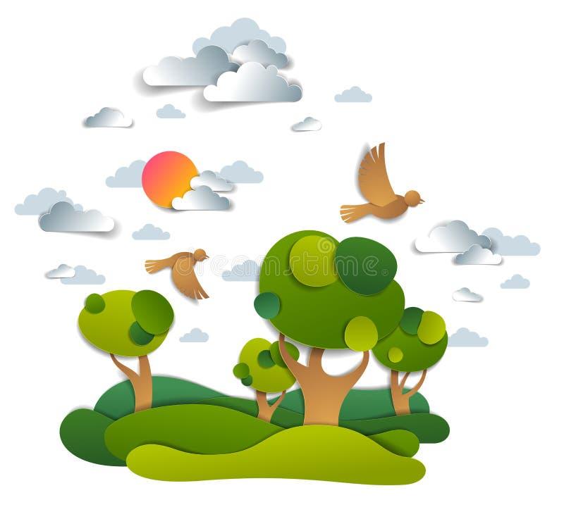 Paisaje esc?nico de prados y ?rboles, cielo nublado con los p?jaros y el sol, campos del verano y ejemplo del vector de los prado libre illustration