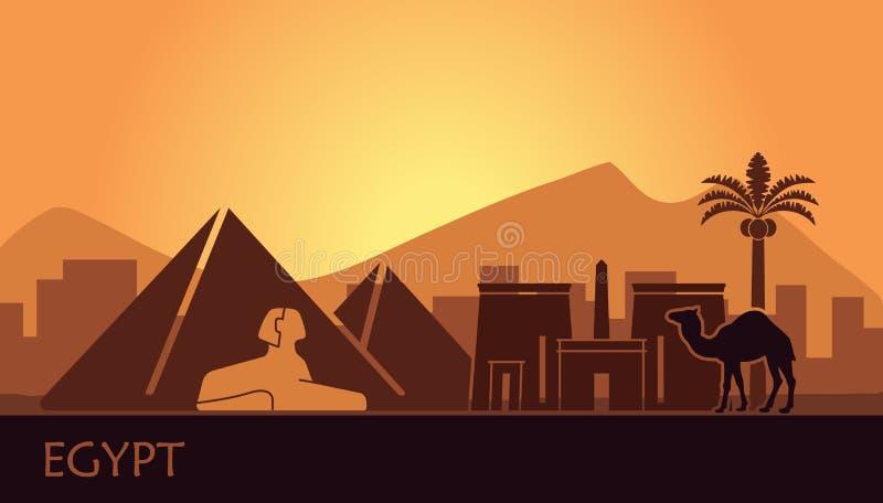 Paisaje estilizado de Egipto en la puesta del sol Ilustración del vector