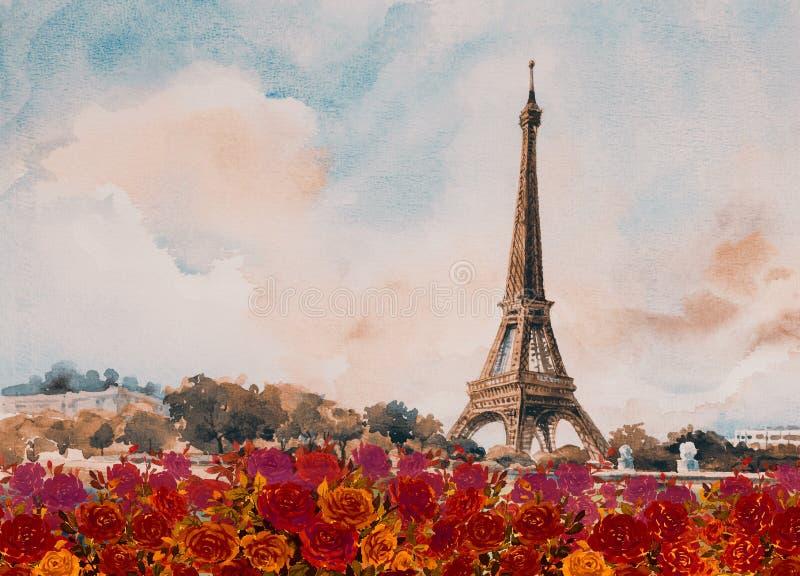 Paisaje europeo Francia de la ciudad de París de la torre de Eiffel ilustración del vector