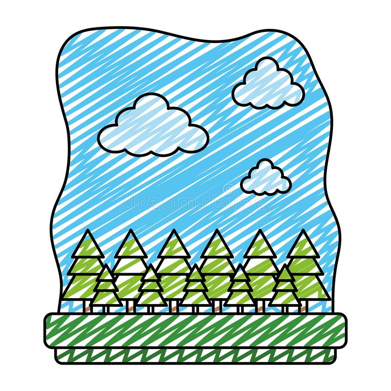 Paisaje exótico del coto de la ecología de los árboles del garabato ilustración del vector