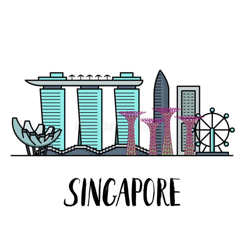 Paisaje famoso de las señales de Singapur con las letras modernas ilustración del vector