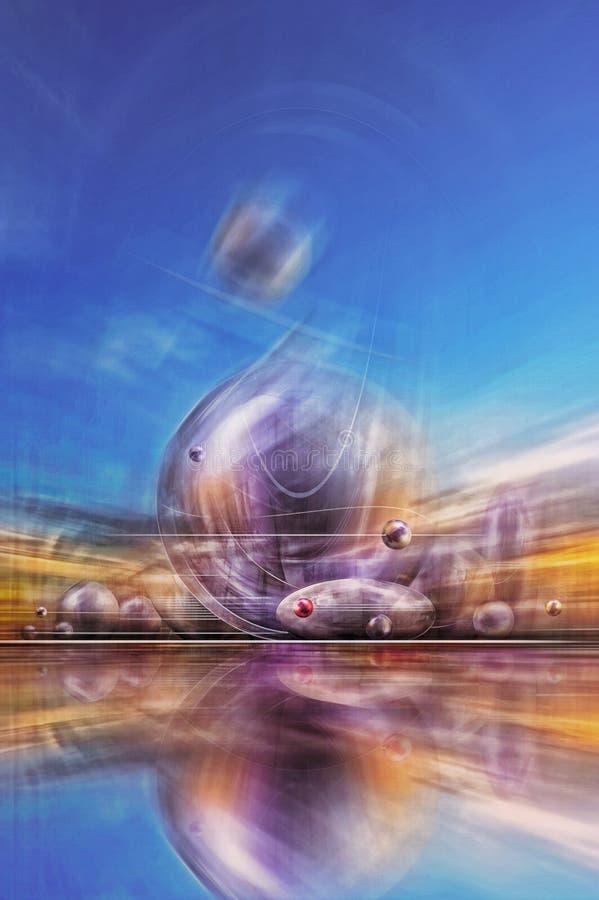 Paisaje fantástico con formas esféricas de diversos tamaños que asoman sobre la tierra contra un cielo azul claro libre illustration