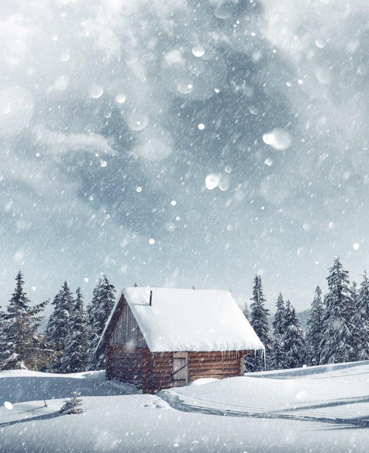 Paisaje fantástico con la casa nevosa foto de archivo
