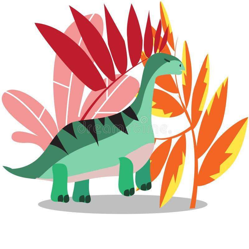 Paisaje fantástico con los animales prehistóricos fantásticos, dinosaurios extintos, ejemplo del vector stock de ilustración