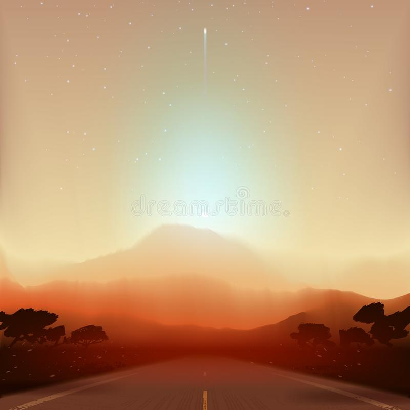 Paisaje fantástico marciano stock de ilustración