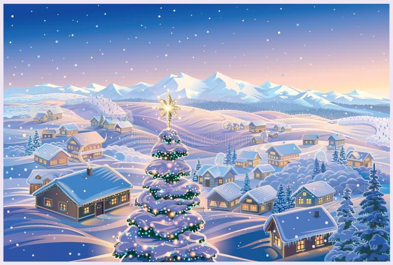 Paisaje festivo del invierno con el árbol de navidad ilustración del vector