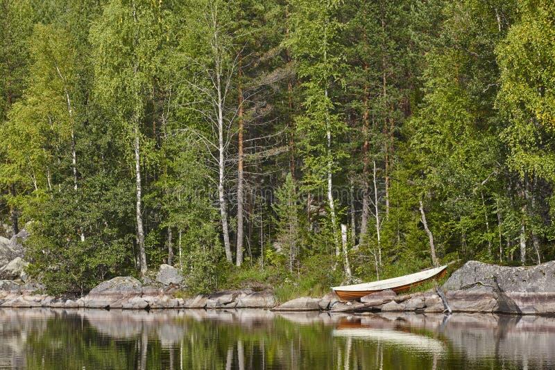 Paisaje finlandés con el área de Enonkoski del lago y del bosque imágenes de archivo libres de regalías