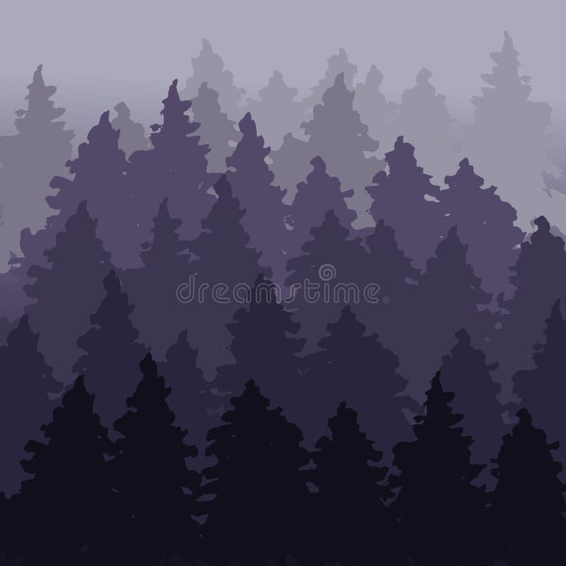 Paisaje firry del bosque de la niebla Panorama del árbol de abeto Modelo Spruce Plantilla violeta al aire libre del diseño Ilustr stock de ilustración