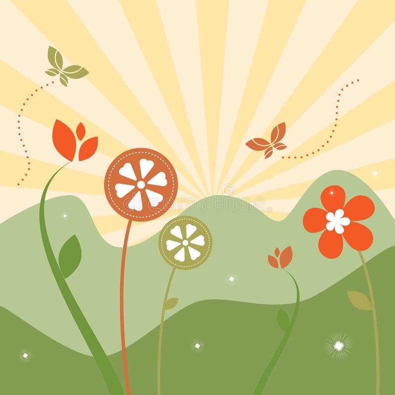 Paisaje floral del resorte abstracto stock de ilustración