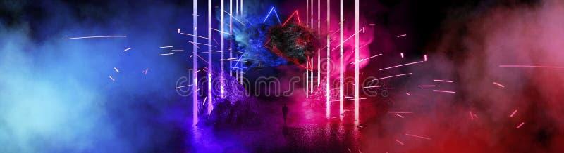 Paisaje futurista del espacio Meteoritos ardientes, chispas, humo, arcos ligeros Fondo oscuro con el elemento ligero en el centro libre illustration