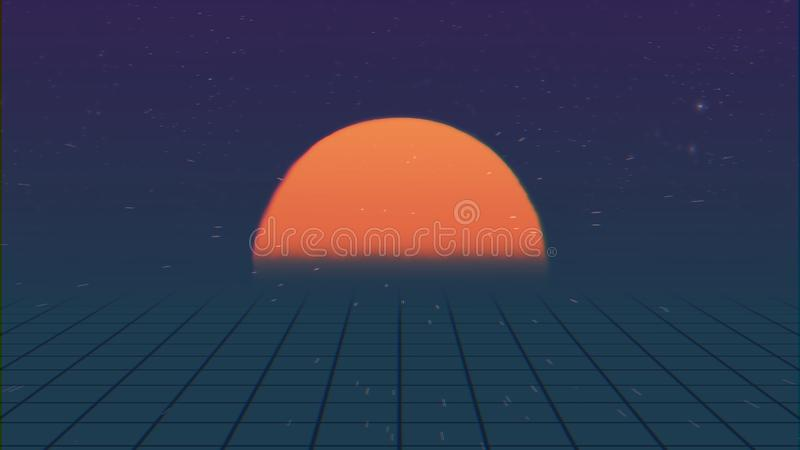 Paisaje futurista retro de la introducción Vuelo sobre la malla de neón con el sol poniente y las estrellas Concepto de animación ilustración del vector