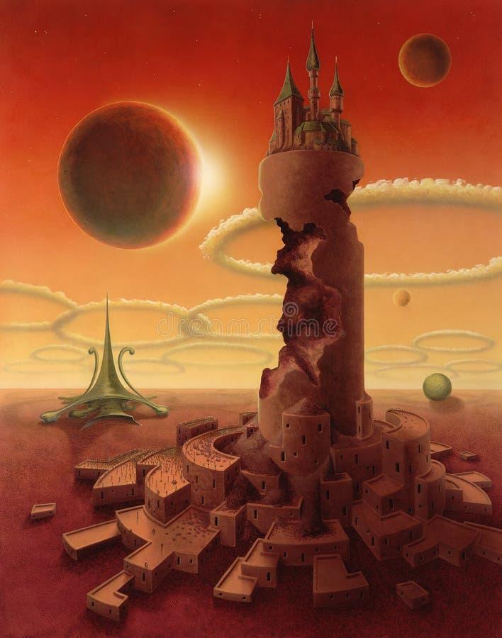 Paisaje futurista surrealista ilustración del vector