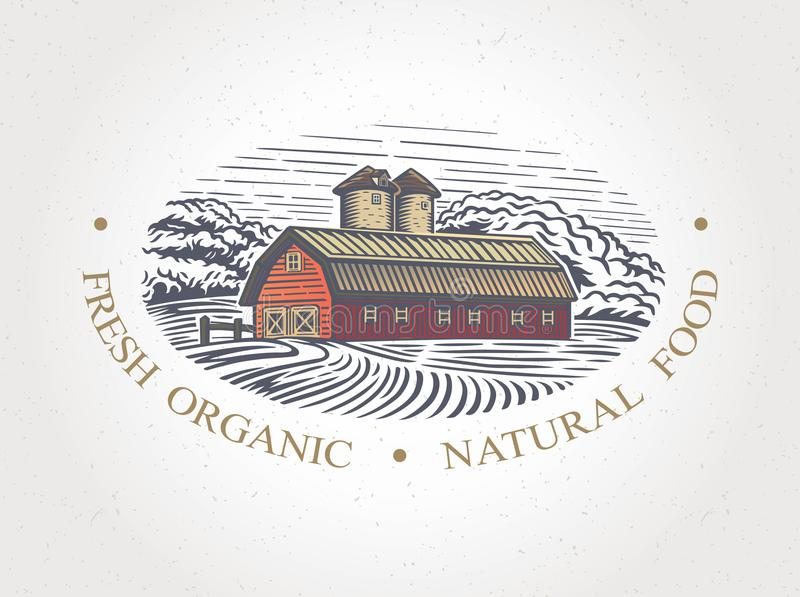 Paisaje gráfico con la granja libre illustration