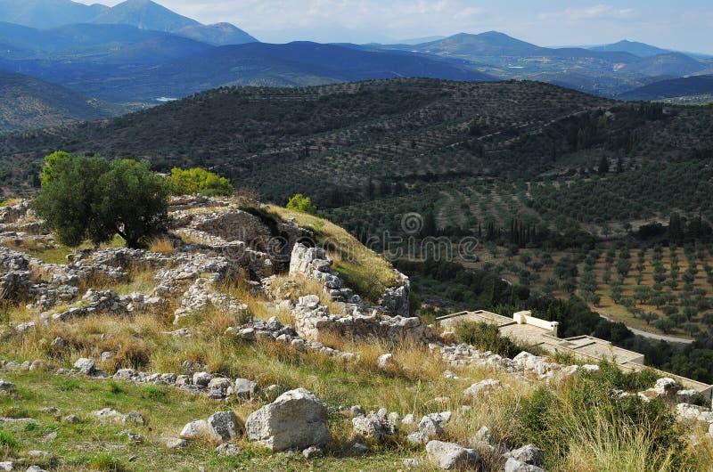 Paisaje griego hermoso Mycenae, Grecia fotos de archivo