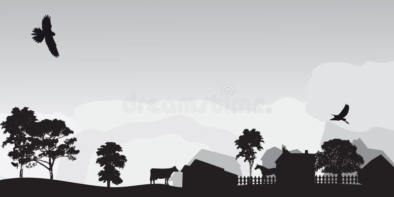 Paisaje gris con los árboles y la aldea libre illustration