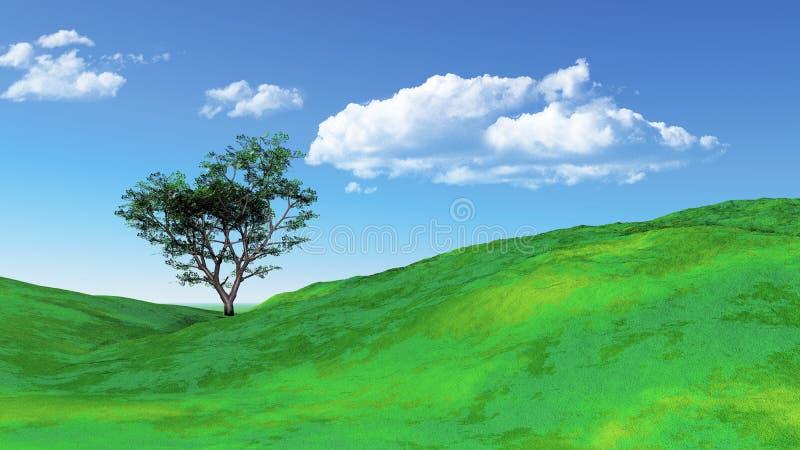 paisaje herboso 3D con el árbol libre illustration