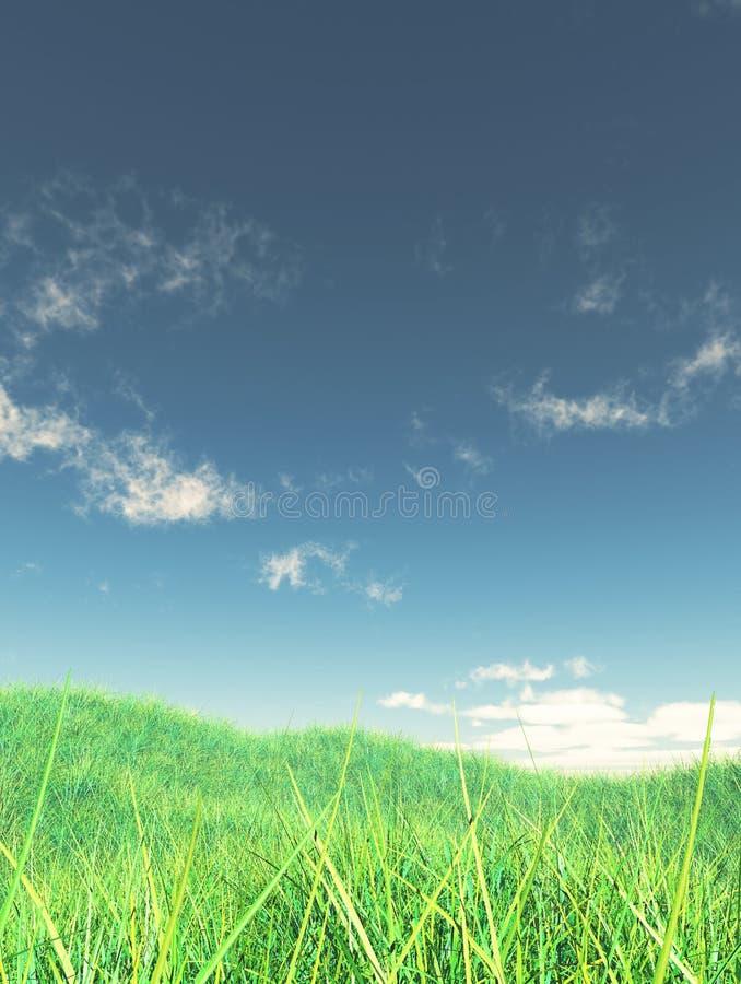 paisaje herboso 3D con el cielo azul libre illustration